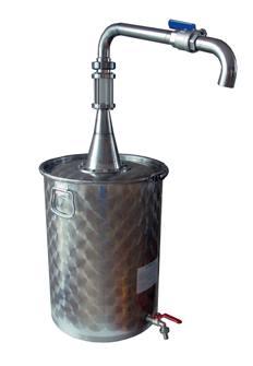 Bidone per decantare l´olio da 75 l con rubinetto alto per spillare