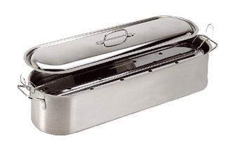 Pescera inox 60x16,5 cm con griglia e coperchio. Per tuttii fuochi, induzione inclusa