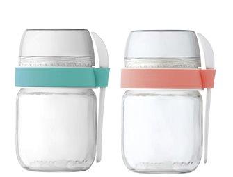 2 vasetti da asporto per yogurtiera colore corallo e verde