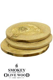 Vassoi tondi di legno dl´olivo diam.11 cm per barbecue (3)