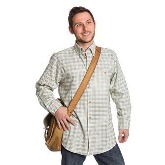 Camicia uomo beige a quadri verdi Bartavel Farmer M