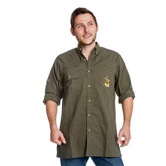 Camicia uomo kaki ricamo lepre Bartavel Hunter 3XL