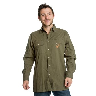 Camicia uomo kaki ricamo cervo Bartavel Baroudeur XL