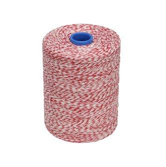 Rotolo 1 kg di spago per salumi lino liscio melangiato bianco rosso