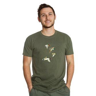 T-shirt uomo kaki Bartavel Nature stampa con 4 anatre in volo L