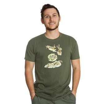 T-shirt uomo kaki Bartavel Nature stampa lepri L