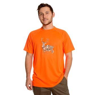 T-shirt uomo traspirante Bartavel Diego stampa teste di cervo, cinghiale e capriolo arancio 3XL