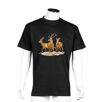 T-shirt uomo nera Bartavel Nature stampa 2 cervi e 1 daino L