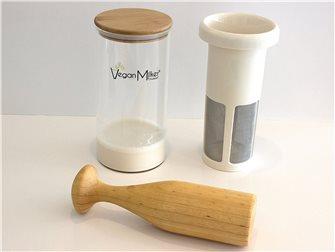 Filtro per latte vegetale, ciotola in vetro e pestello di legno per mixer immersione