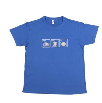 T-shirt blu Farm Cook Eat Tom Press stampa grigia L