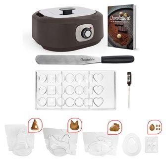 Temperatrice elettrica per cioccolato con 5 stampi per Pasqua