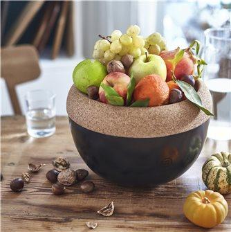 Fruttiera nera con vassoio in sughero 4,7 litri Emile Henry